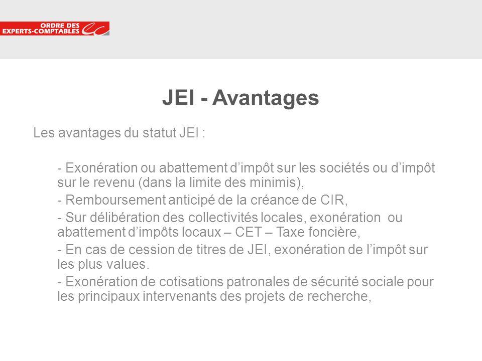 JEI - Avantages Les avantages du statut JEI :
