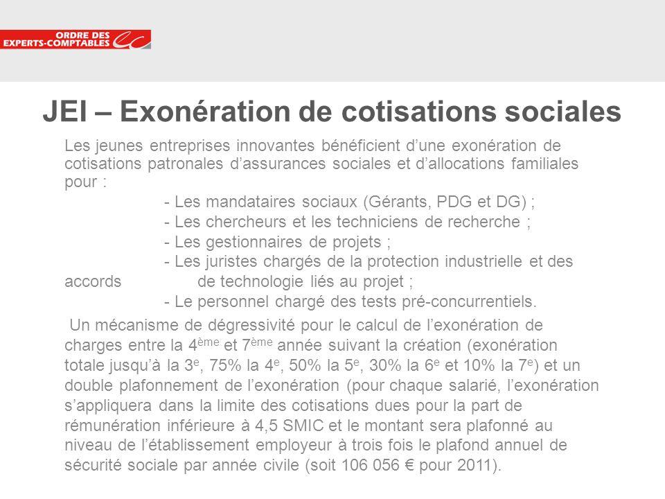 JEI – Exonération de cotisations sociales