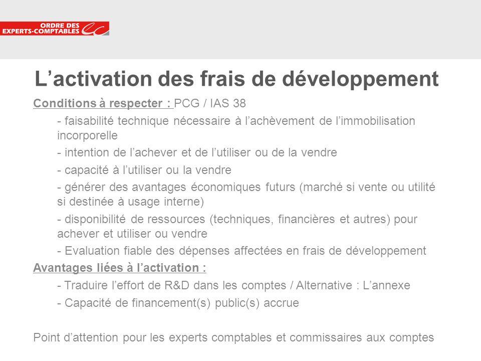 L'activation des frais de développement