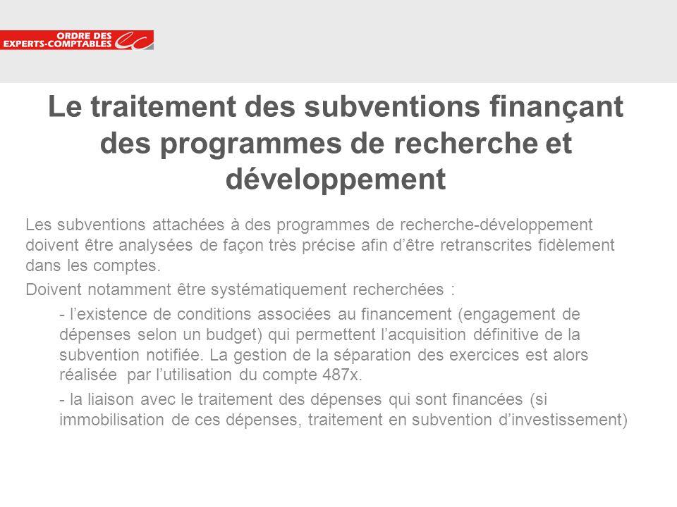 Le traitement des subventions finançant des programmes de recherche et développement