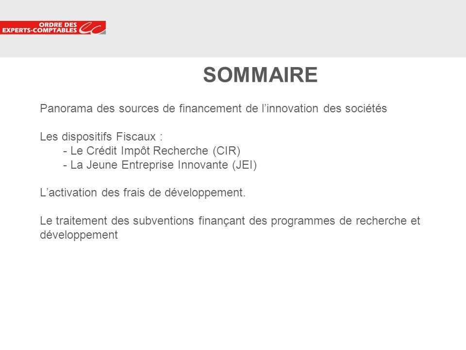 SOMMAIRE Panorama des sources de financement de l'innovation des sociétés Les dispositifs Fiscaux : - Le Crédit Impôt Recherche (CIR) - La Jeune Entreprise Innovante (JEI) L'activation des frais de développement.