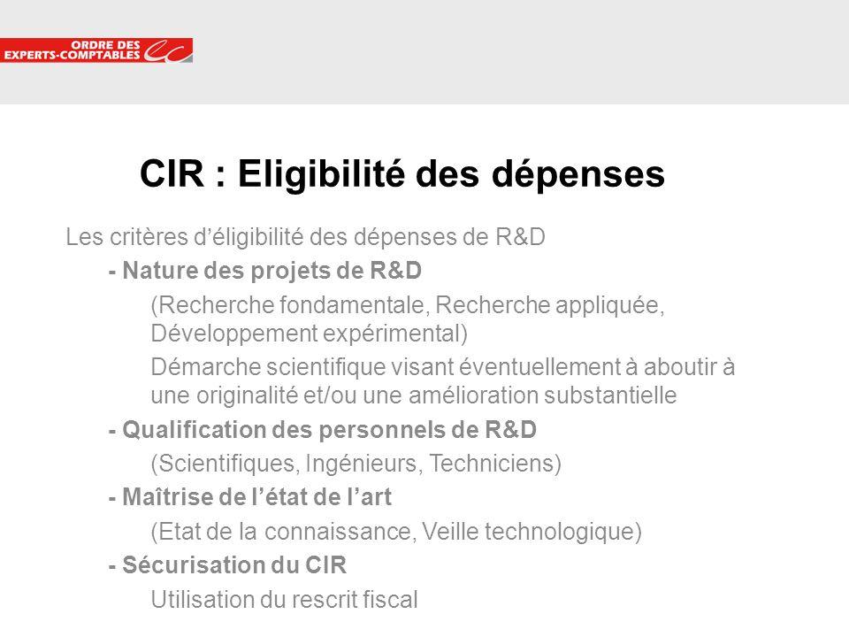 CIR : Eligibilité des dépenses