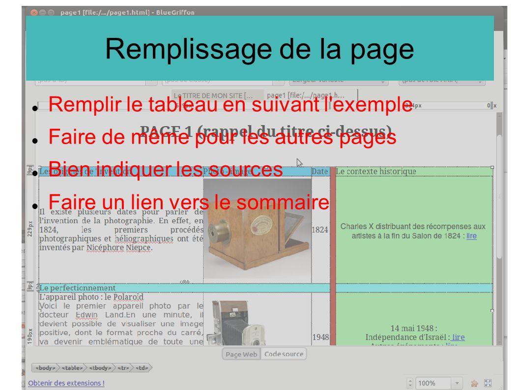 Remplissage de la page Remplir le tableau en suivant l exemple
