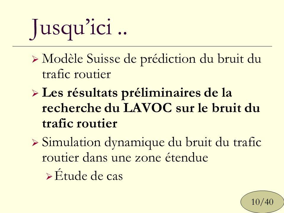 Jusqu'ici .. Modèle Suisse de prédiction du bruit du trafic routier