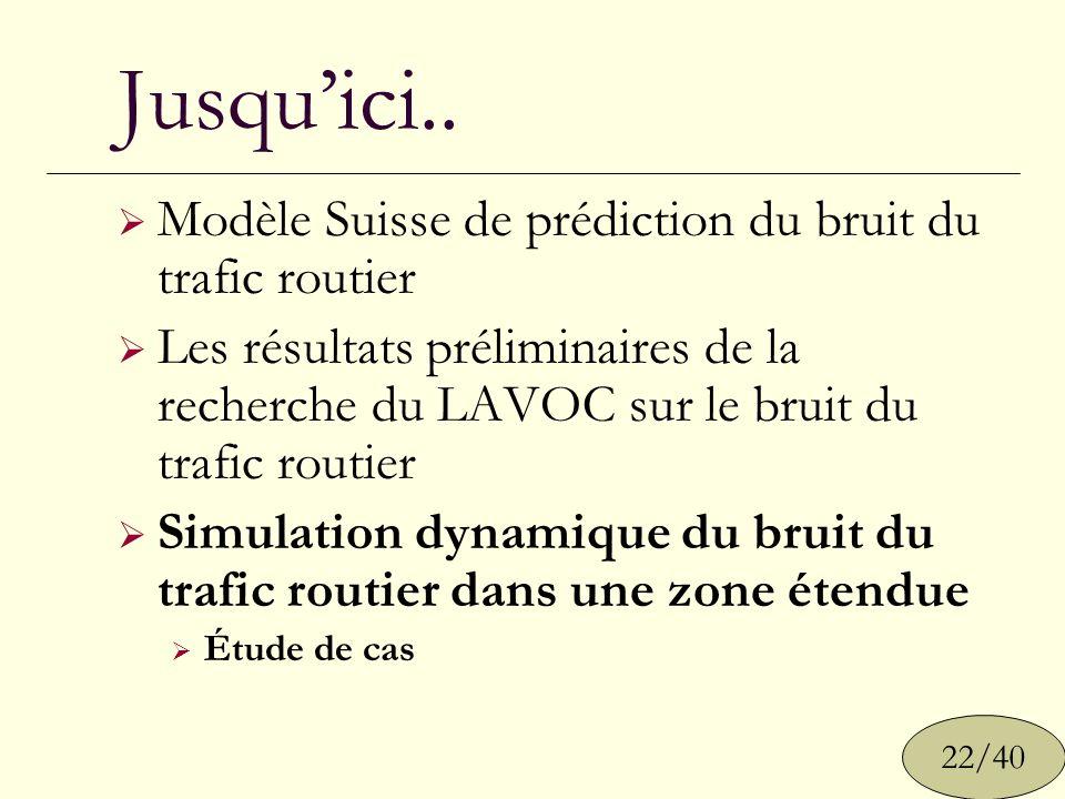 Jusqu'ici.. Modèle Suisse de prédiction du bruit du trafic routier