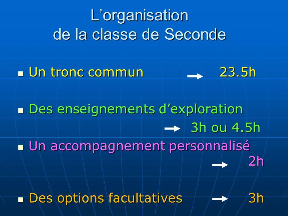L'organisation de la classe de Seconde