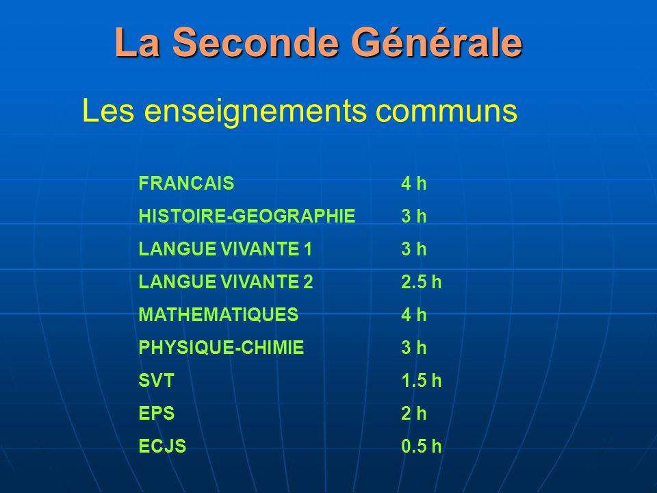 La Seconde Générale Les enseignements communs FRANCAIS 4 h