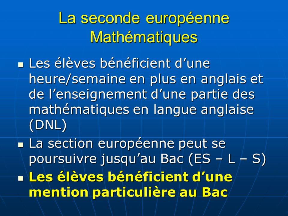 La seconde européenne Mathématiques
