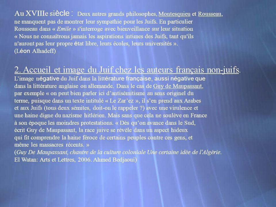 2. Accueil et image du Juif chez les auteurs français non-juifs.