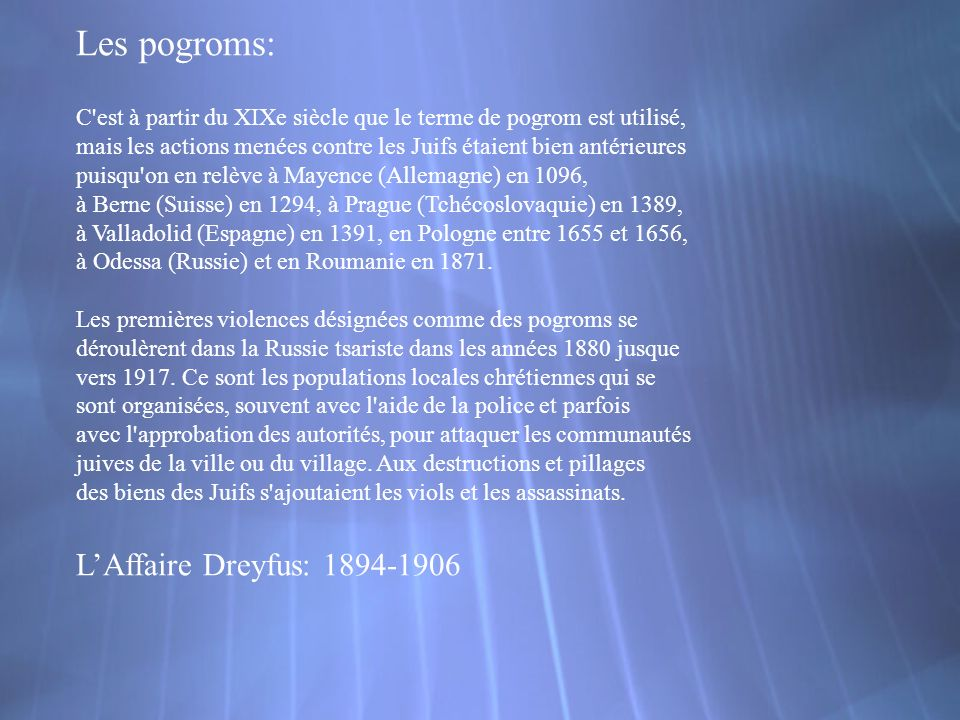 Les pogroms: L'Affaire Dreyfus: 1894-1906