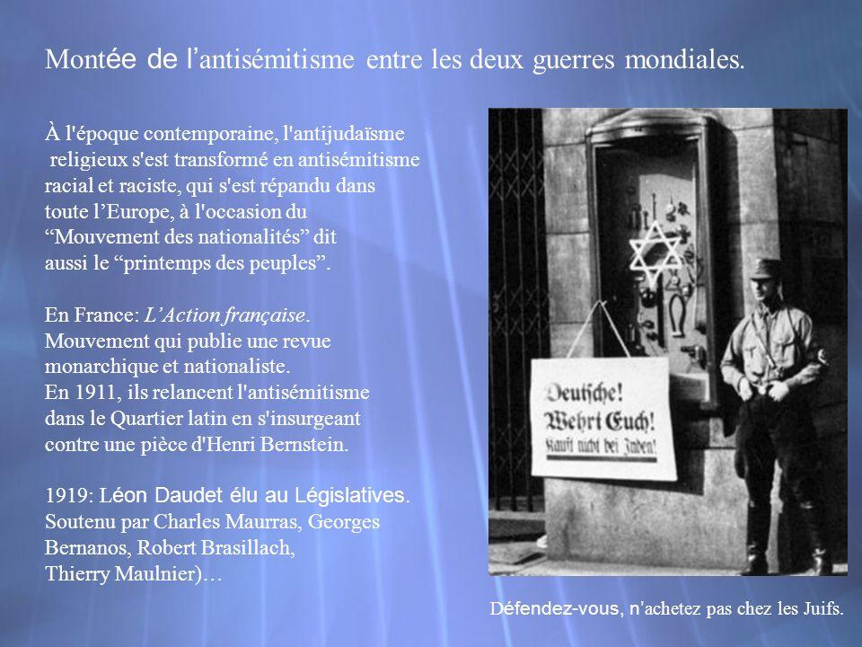 Montée de l'antisémitisme entre les deux guerres mondiales.