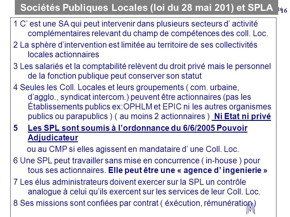 Sociétés Publiques Locales (loi du 28 mai 201) et SPLA