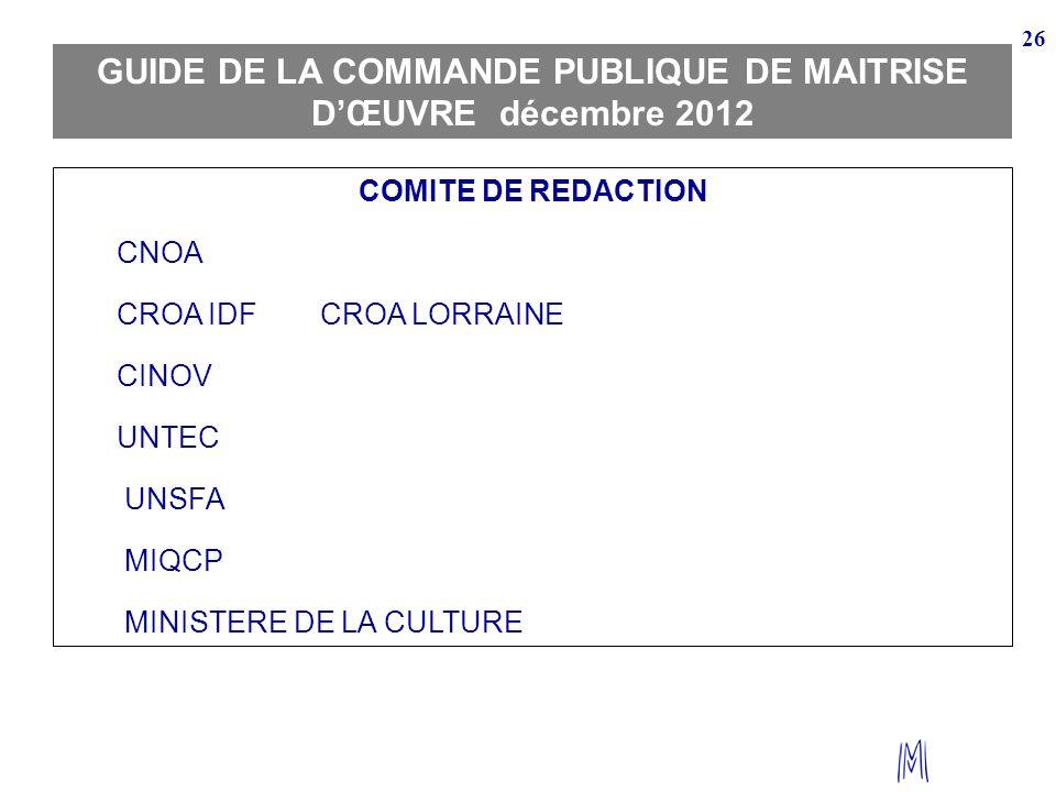 GUIDE DE LA COMMANDE PUBLIQUE DE MAITRISE D'ŒUVRE décembre 2012