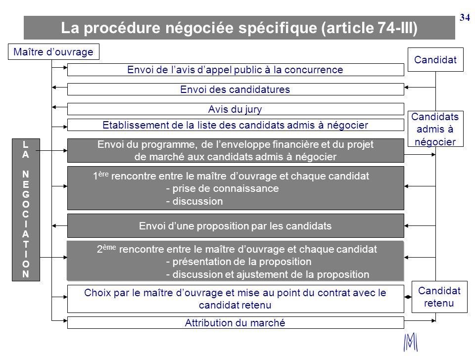 La procédure négociée spécifique (article 74-III)