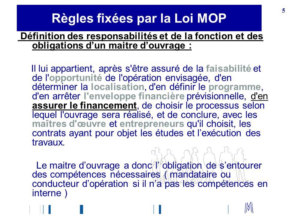 Règles fixées par la Loi MOP