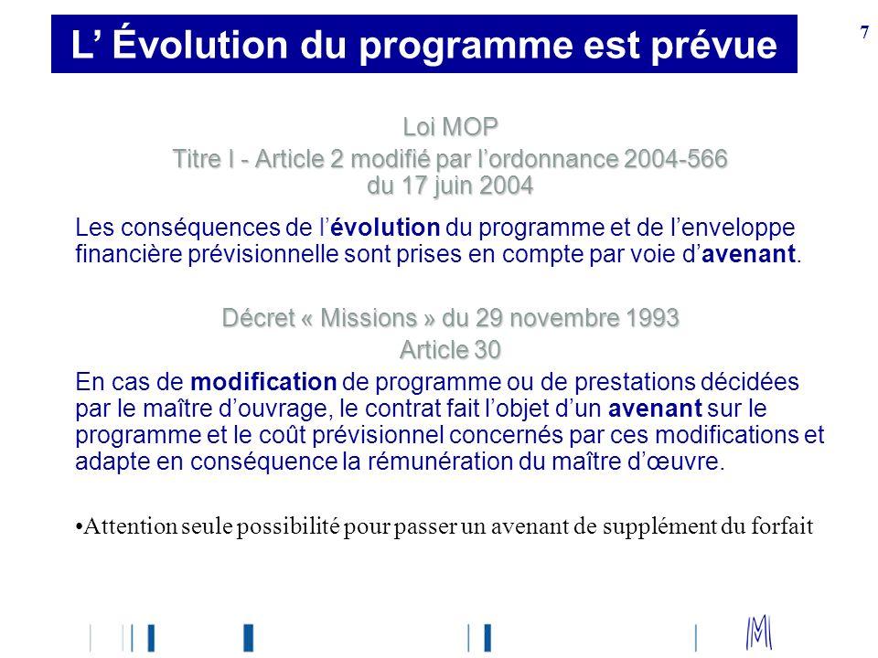 L' Évolution du programme est prévue
