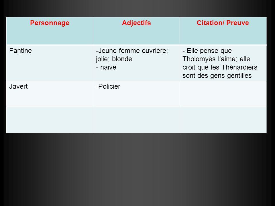 Personnage Adjectifs. Citation/ Preuve. Fantine. Jeune femme ouvrière; jolie; blonde. naive.