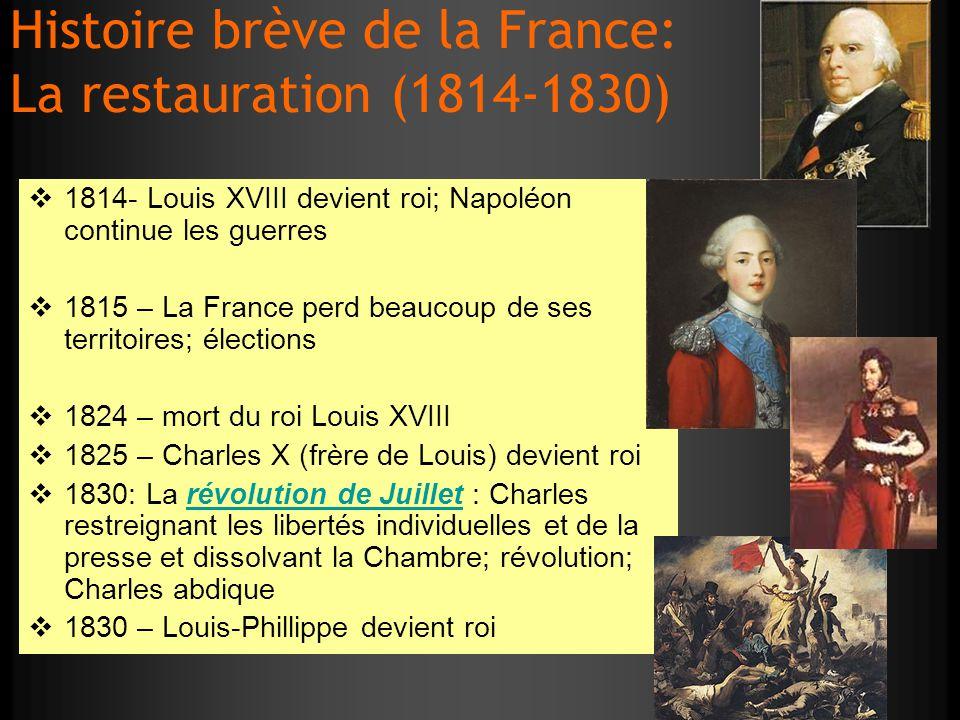 Histoire brève de la France: La restauration (1814-1830)