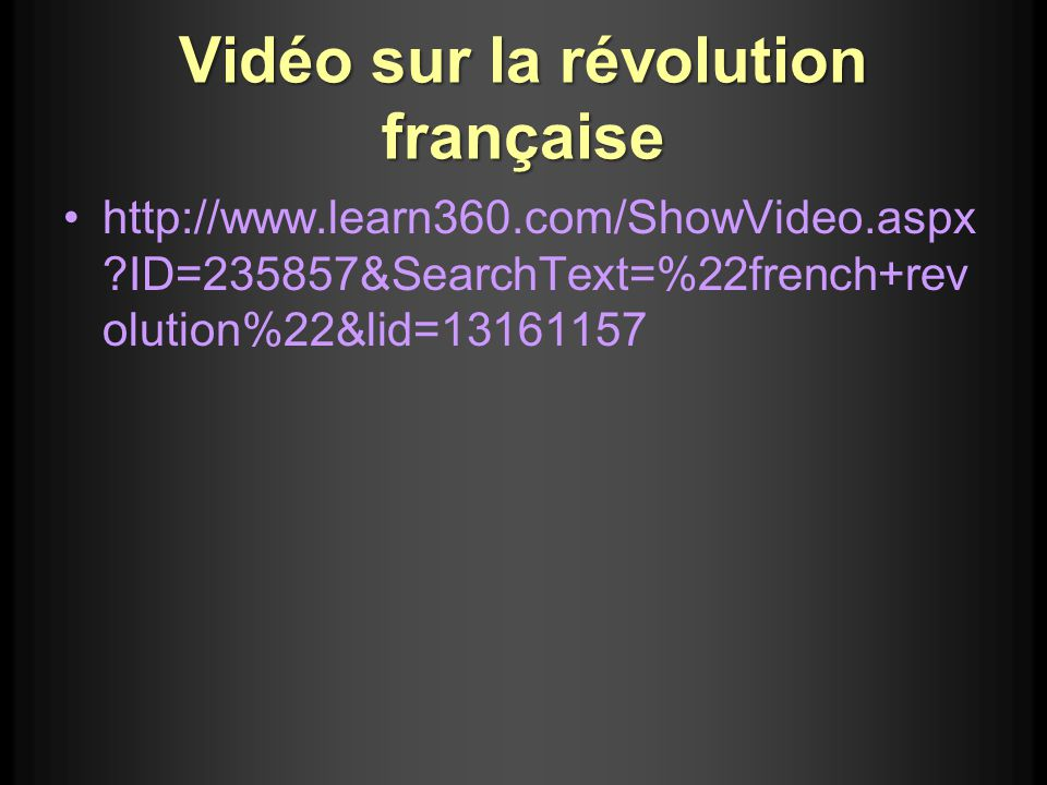 Vidéo sur la révolution française