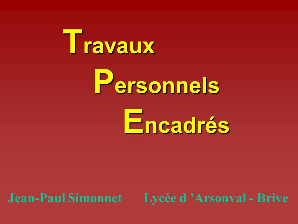 Travaux Personnels Encadrés Jean-Paul Simonnet