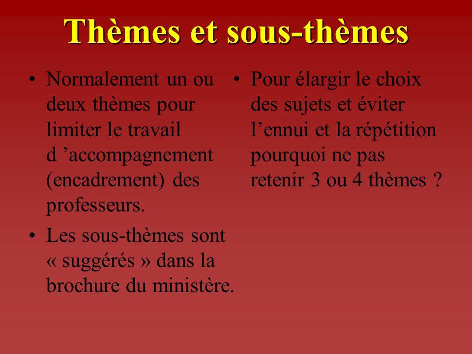 Thèmes et sous-thèmes Normalement un ou deux thèmes pour limiter le travail d 'accompagnement (encadrement) des professeurs.