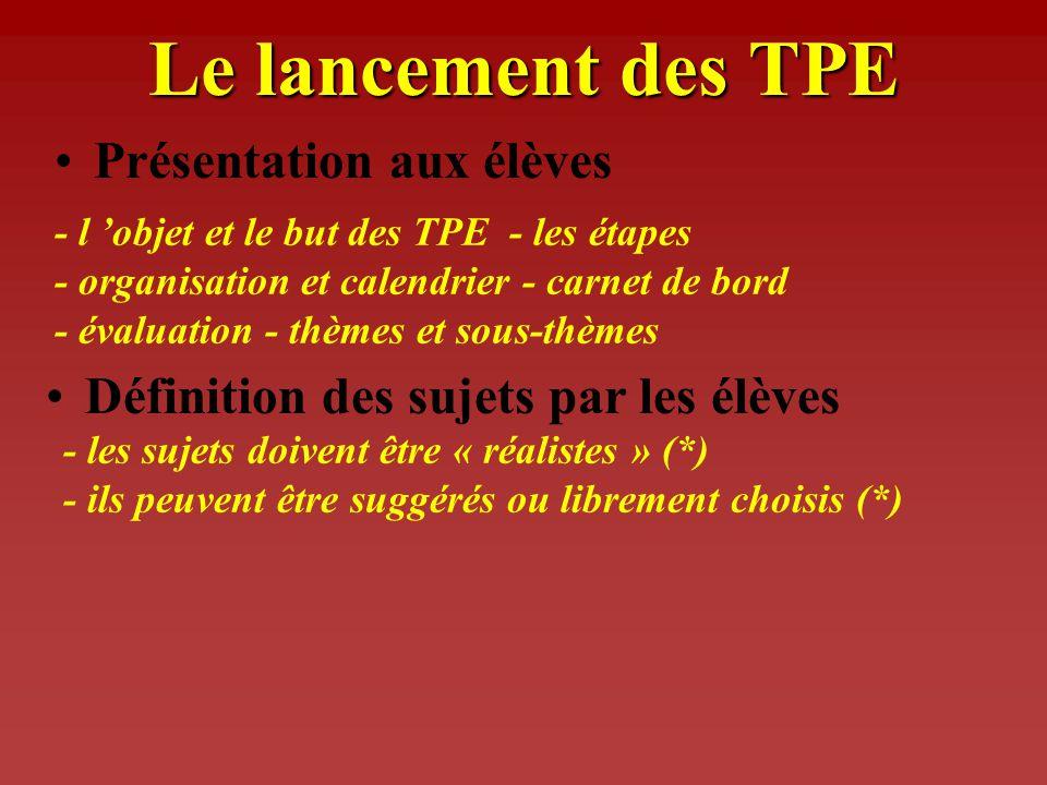 Le lancement des TPE Présentation aux élèves