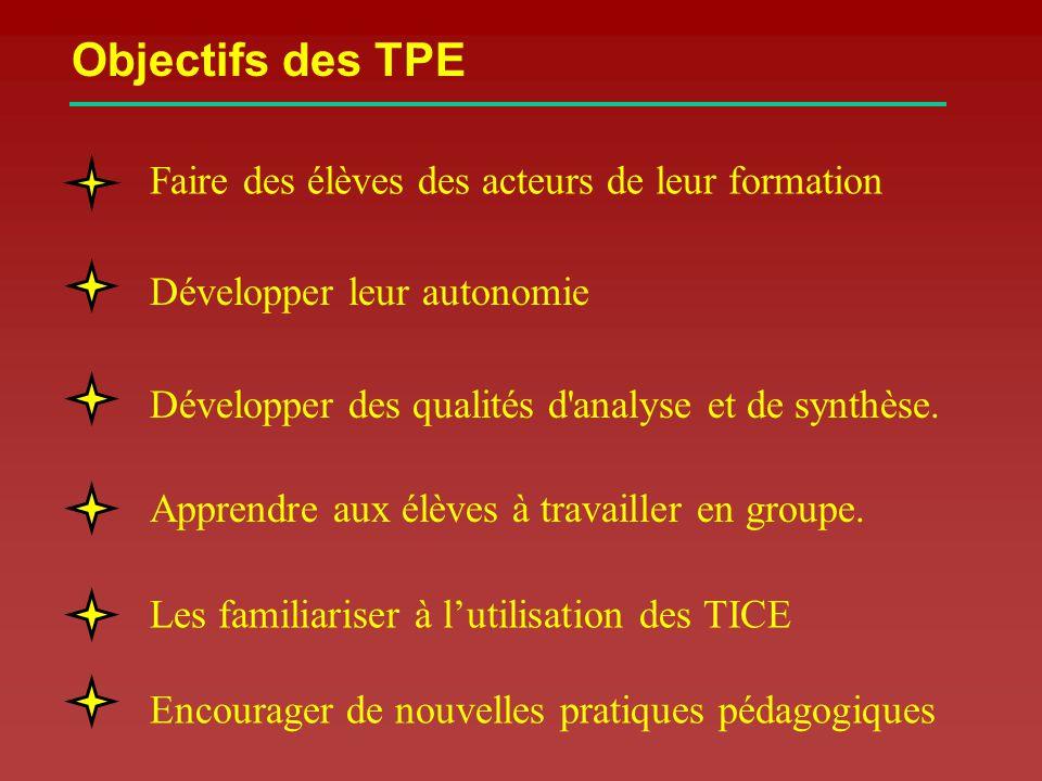 Objectifs des TPE Faire des élèves des acteurs de leur formation