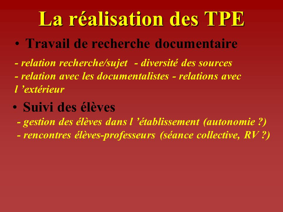 La réalisation des TPE Travail de recherche documentaire