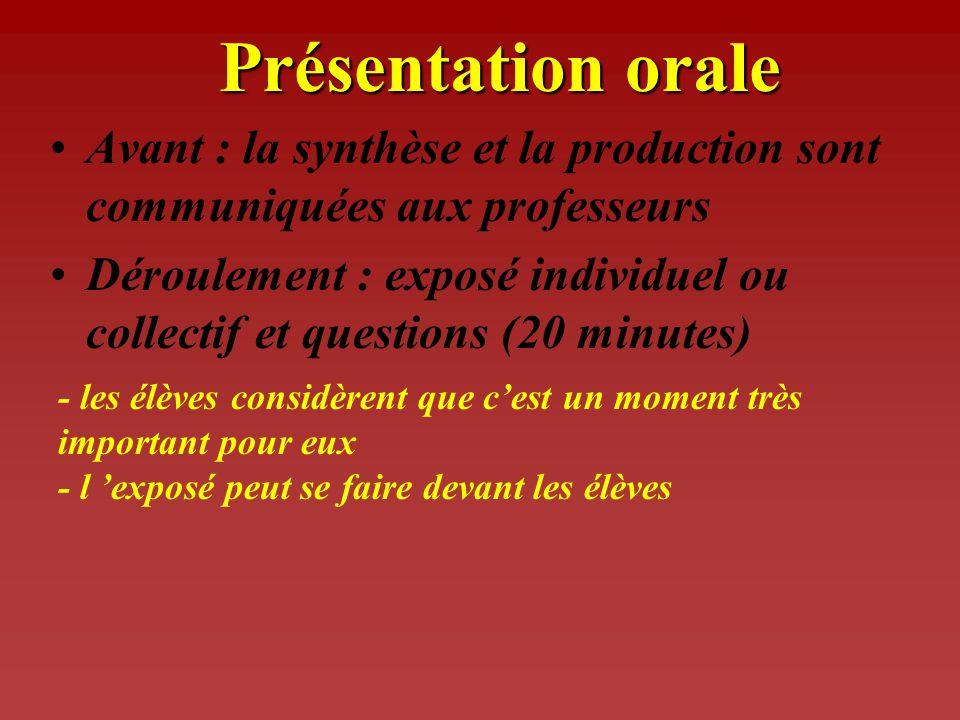 Présentation orale Avant : la synthèse et la production sont communiquées aux professeurs.