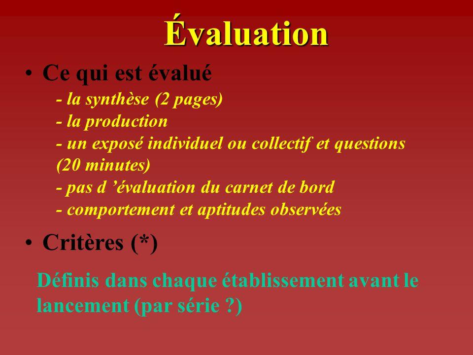 Évaluation Ce qui est évalué Critères (*)