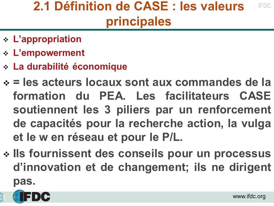 2.1 Définition de CASE : les valeurs principales