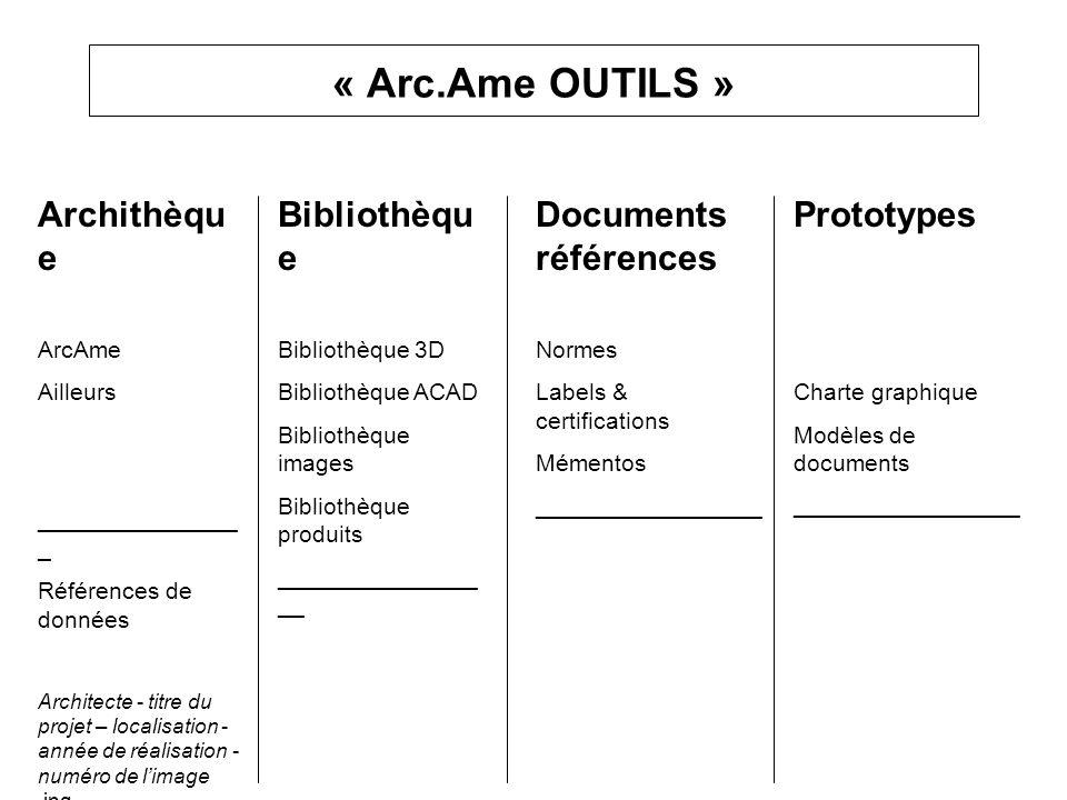 « Arc.Ame OUTILS » Archithèque Bibliothèque Documents références