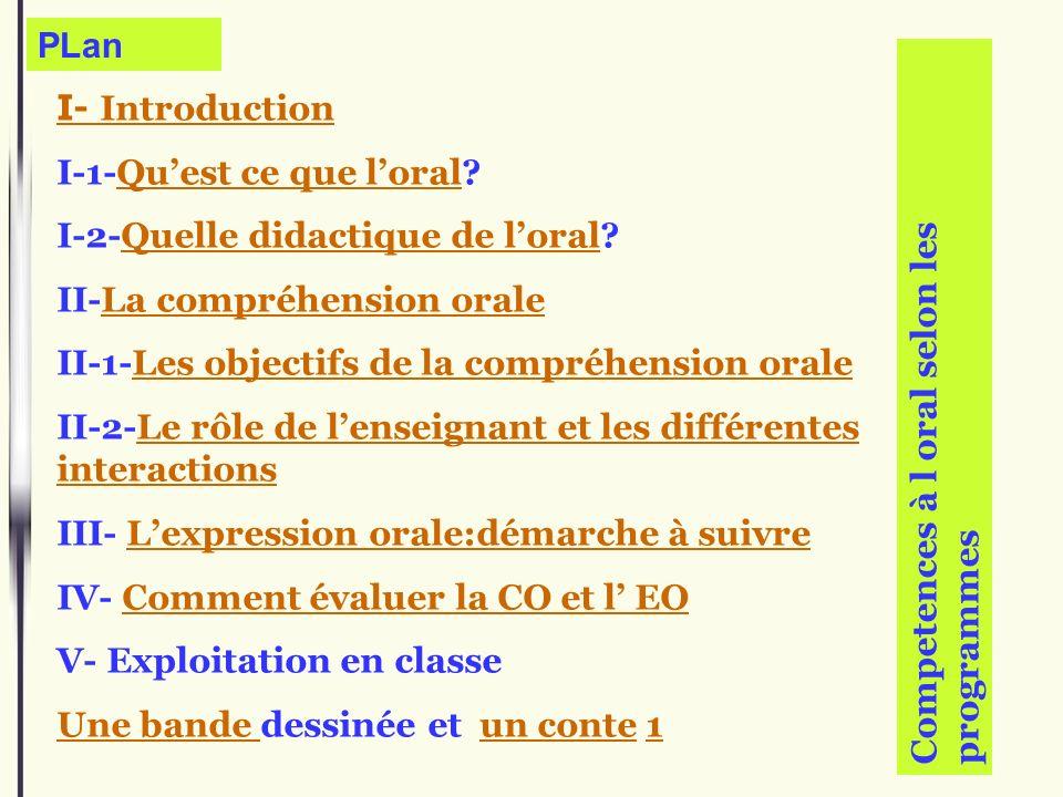 PLan I- Introduction. I-1-Qu'est ce que l'oral I-2-Quelle didactique de l'oral II-La compréhension orale.