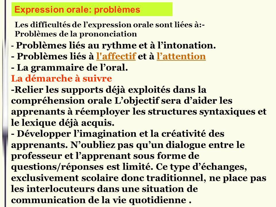 Expression orale: problèmes