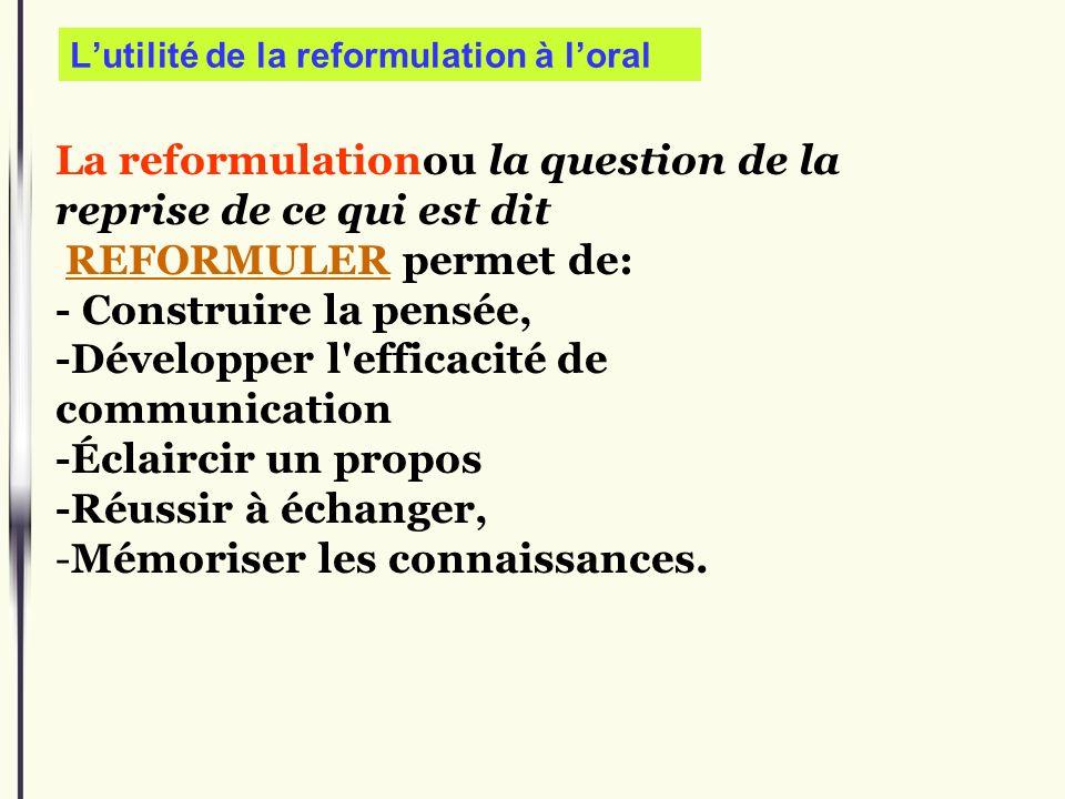 L'utilité de la reformulation à l'oral