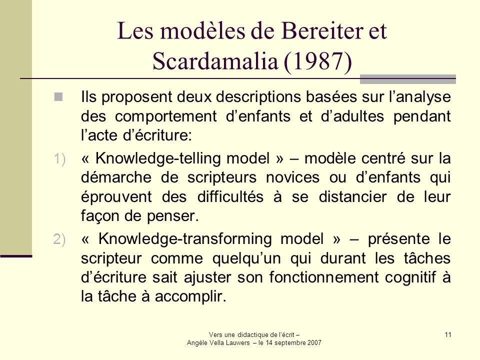 Les modèles de Bereiter et Scardamalia (1987)