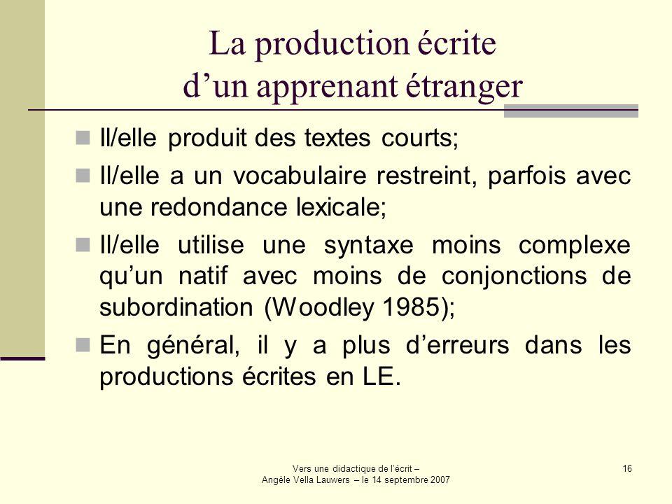La production écrite d'un apprenant étranger