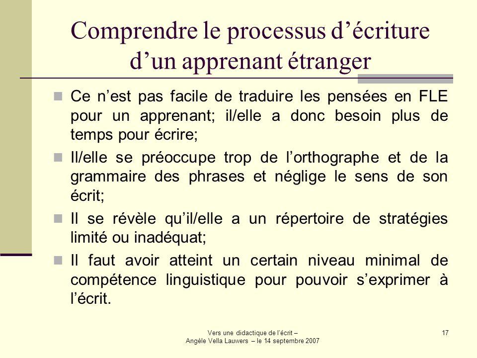 Comprendre le processus d'écriture d'un apprenant étranger