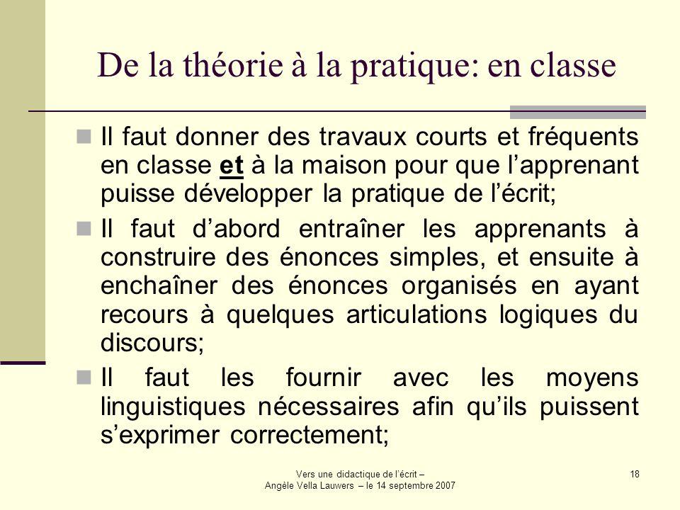 De la théorie à la pratique: en classe