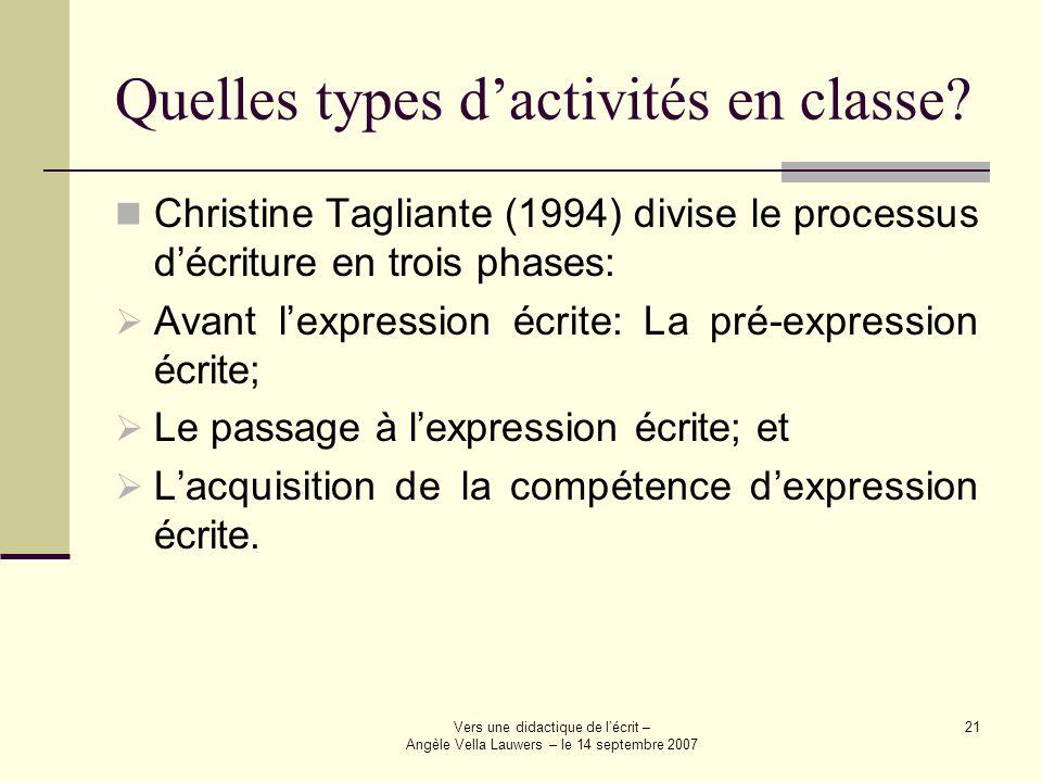 Quelles types d'activités en classe