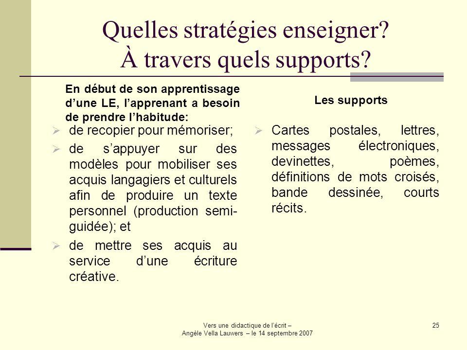 Quelles stratégies enseigner À travers quels supports