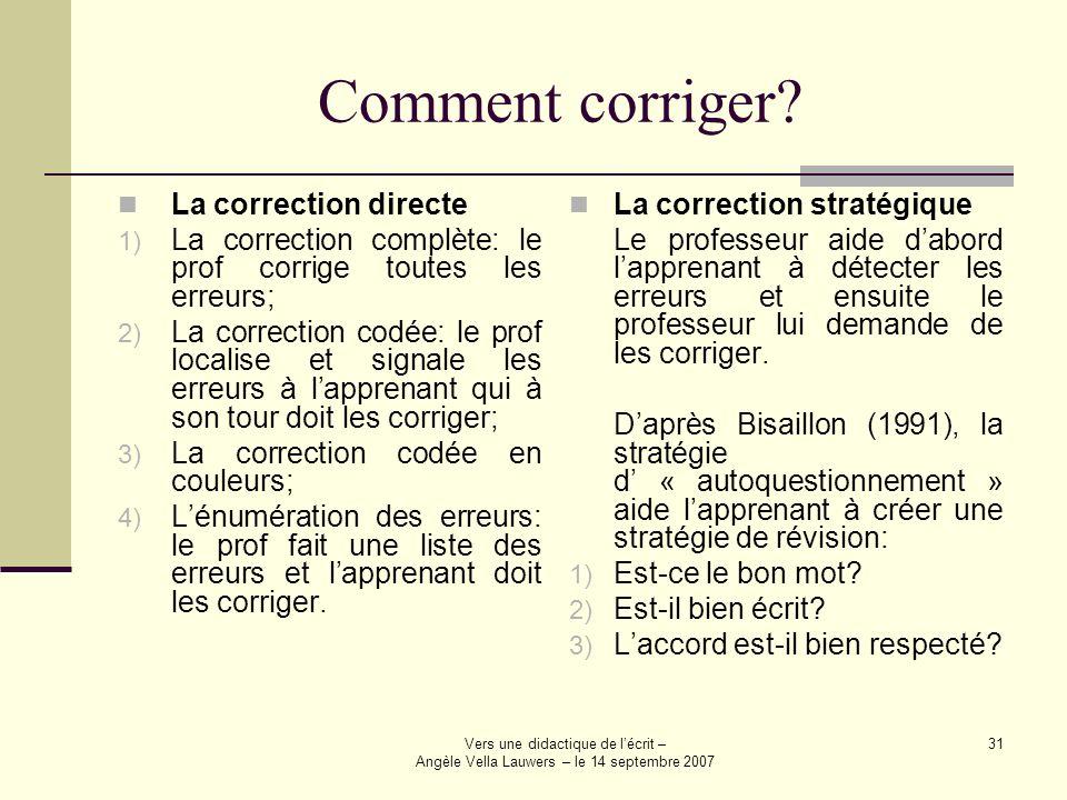 Comment corriger La correction directe