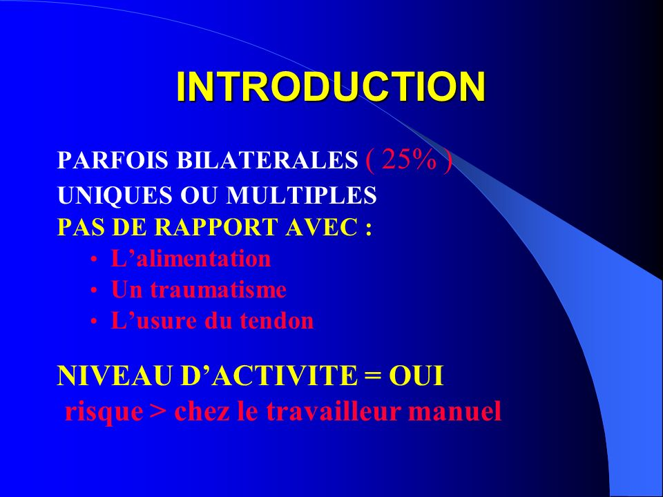 INTRODUCTION NIVEAU D'ACTIVITE = OUI