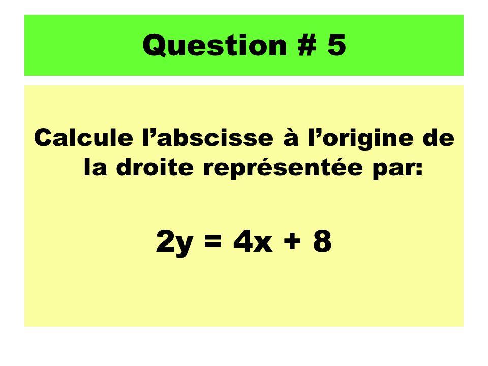 Calcule l'abscisse à l'origine de la droite représentée par: