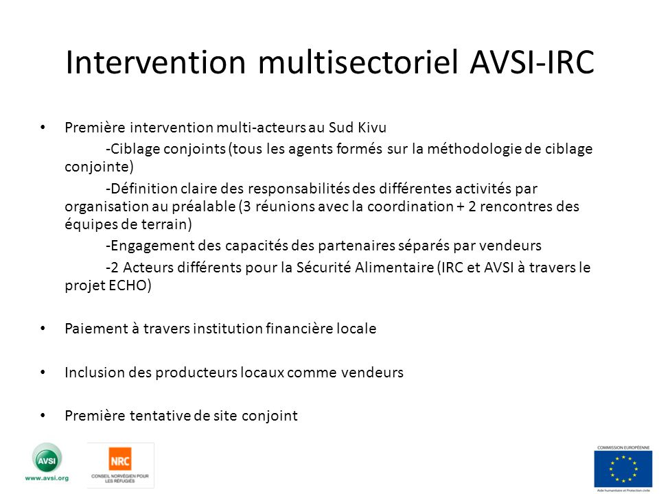 Intervention multisectoriel AVSI-IRC
