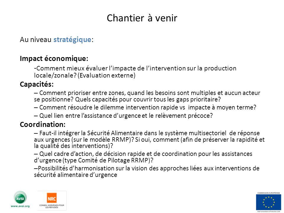 Chantier à venir Au niveau stratégique: Impact économique: