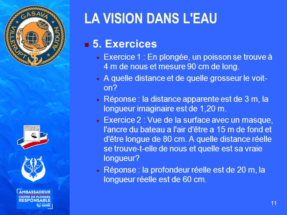 LA VISION DANS L EAU 5. Exercices