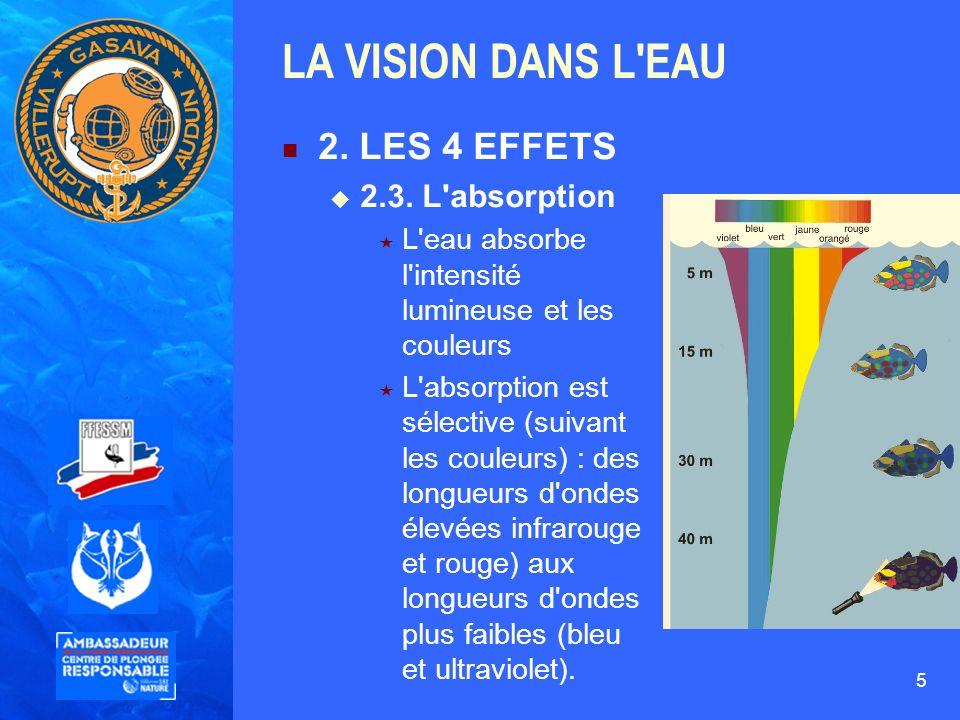 LA VISION DANS L EAU 2. LES 4 EFFETS 2.3. L absorption