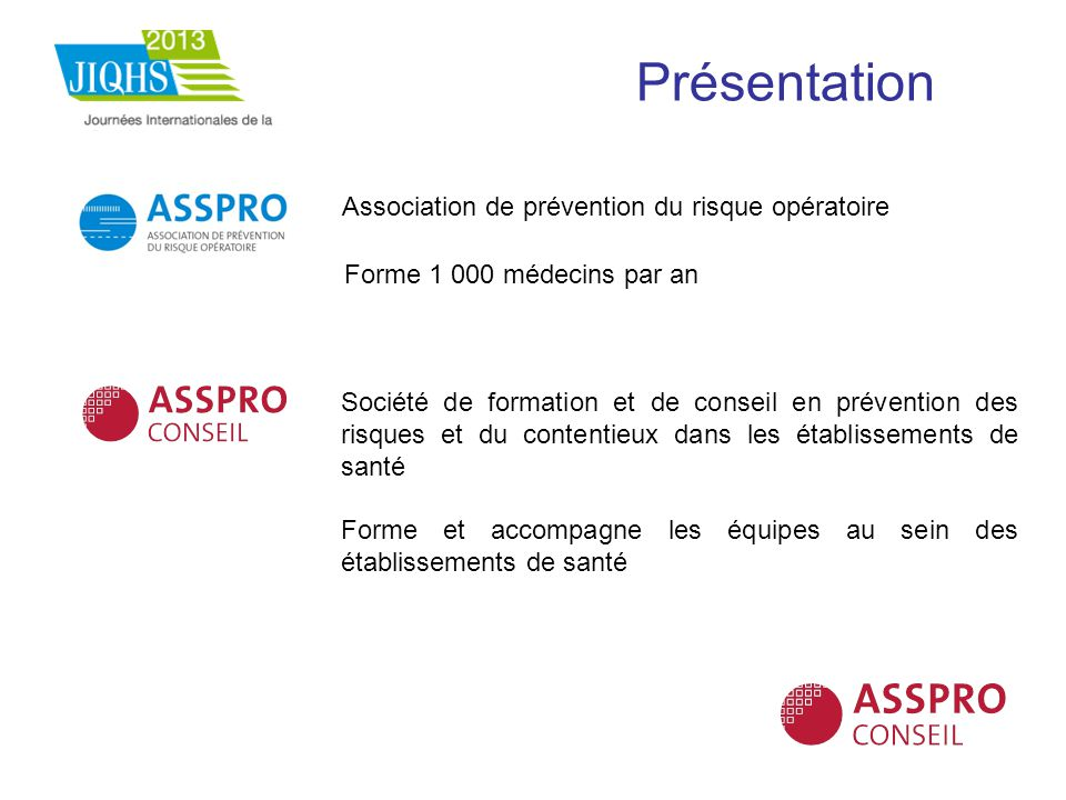 Présentation Association de prévention du risque opératoire