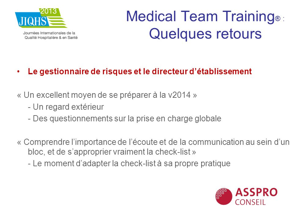 Medical Team Training® : Quelques retours